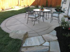 Patio And Walkway. Patio With Colored Salt Finish Concrete ...